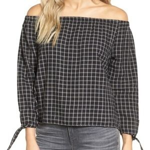 Madewell - Plaid Off the Shoulder Top